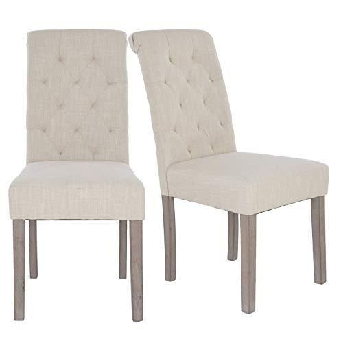 MACOShopde by MACO Möbel Esszimmerstuhl 2er Set Vintage Küchenstühle Stühle mit Polsterung Stoff in beige