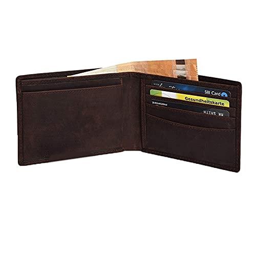 JNOIHF Carteras de cuero reales, billetera de doble plegable para hombres de cuero, bolsillo frontal minimalista IDENTIFICACIÓN Titulares de tarjetas de ventanas y titular de la tarjeta de crédito par
