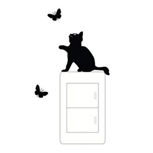 Wuqiong Arrière-Plan de Papillon de Chat Environnement Stickers muraux Poster Paster Autocollants Papier Peint Chambre Dessin Chambre Décor