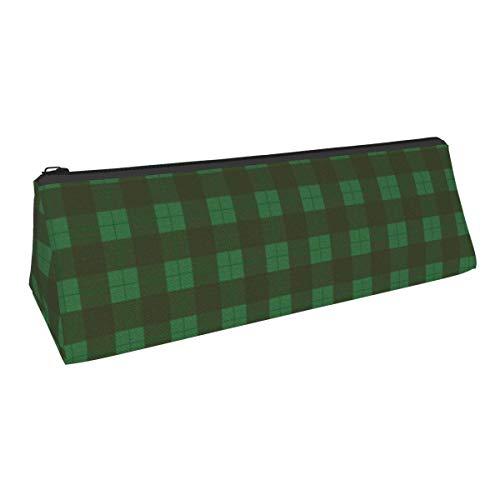 Estuche para bolígrafo con estilo portátil a cuadros verde y marrón, estuche para lápices, estuche para cosméticos, estuche para estudiantes de escuela secundaria, colegio, oficina