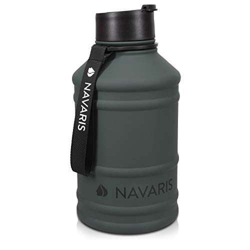 Navaris Botella de Agua de Acero Inoxidable - Cantimplora XXL de Metal...