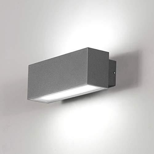 Dr.lazy Apliques de Pared Exterior LED 12W Lámpara de Pared Impermeable IP65 Luz de Aluminio Iluminación para Balcón, Jardín, Porche, Camino, Patio (Gris/Blanco Frío)
