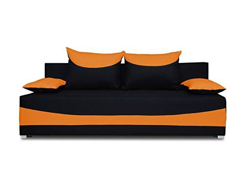 Schlafsofa NATI - Klappsofa mit Bettkasten, Sofa mit Schlaffunktion, Bettsofa, Schlafcouch, Couch, Couchgarnitur, Sofagarnitur, Kinderzimmer (Schwarz + Orange (Neo 15 + Neo 32))