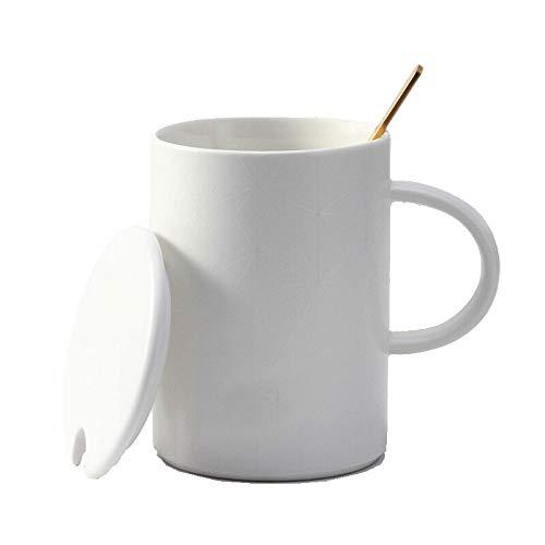 Hong Yi Fei-Shop Tazas de Espresso Taza en Relieve de cerámica Sencilla Copa geométrica con Tapa con Cuchara Taza de café Taza de Leche de la Taza del Agua Taza de Porcelana