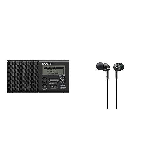 Sony XDR-P1DBP Taschenradio (DAB/DAB+, 20h Akku) & MDR-EX110LPB geschlossene In Ear Kopfhörer schwarz