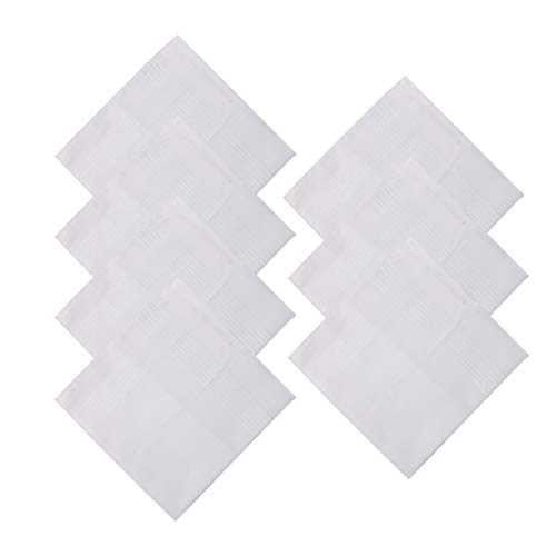 Y&G YEC0111 Fitted Accessories Mens White Solid Cotton Handkerchiefs Best Gift Giving 7 Pics Set One Size