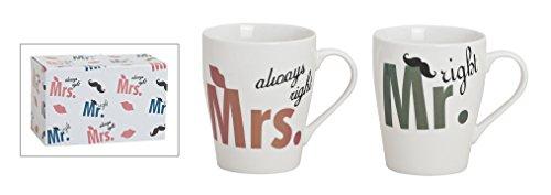 Tassen-Set 2-telig aus Porzellan, 8x10 cm | Kaffee-Becher Mr. and Mrs. always right | Partnertassen mit Schnurrbart und Kussmund Motiven für Heißgetränke | Kaffee-Tassen für Paare