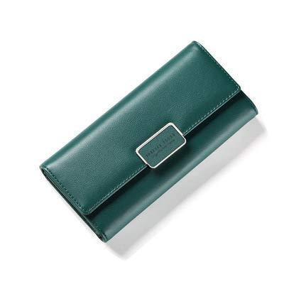 Portafoglio multifunzione donna con fibbia a portafoglio lunga sezione femminile portafoglio a tre scomparti grande capacità pochette donna verde scuro