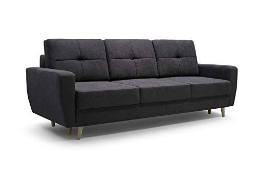 MOEBLO Sofa 3 Sitzer Sofa Couch Garnitur Stoff Samt (Velour) Glamour Wohnlandschaft mit Schlaffunktion - ELDE (Anthrazite)