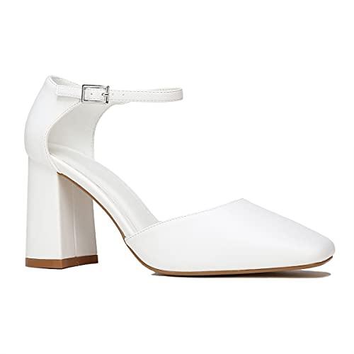La Modeuse – Zapatos de piel sintética abiertos en los lados, (blanco), 39 EU