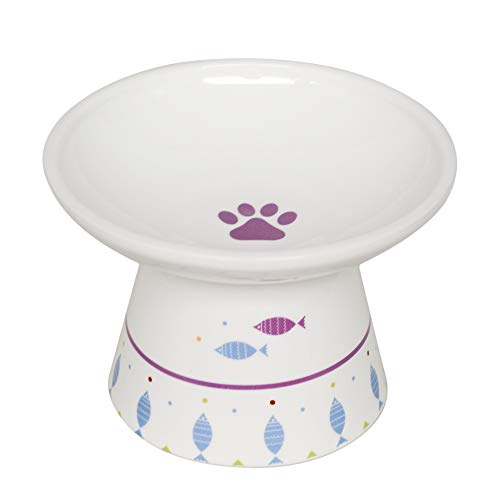 Extra Wide Raised Cat Food Bowl, Porcelain Made, for normal sized adult cats.