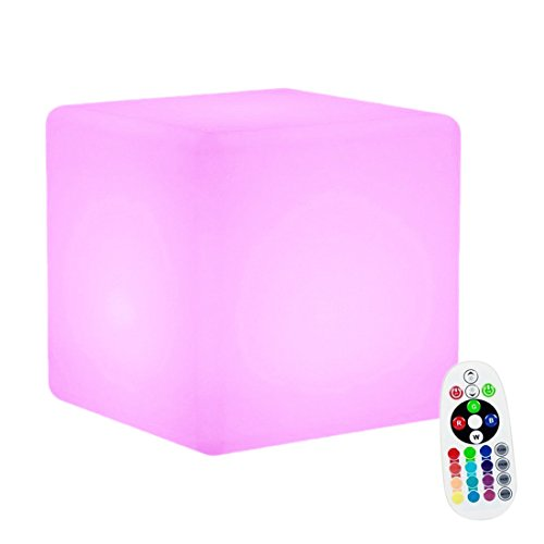 Ambiance LED Boule de Lumière,KINGCOO LED Veilleuse Rechargeable Lampe de Table de Chevet,éclairage de Nuit Convient pour Extérieur Décoration(Cube 15CM)