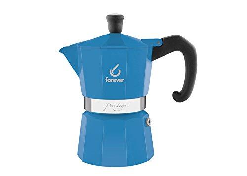 KAUFGUT 120251 Miss Moka Presti Grame Azzurra Kaffeekocher für 1 Tasse, Aluminium, mehrfarbig