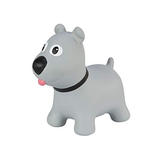 Hoppimals Tootiny Hüpfende Hund Space Hopper für Kinder - Hüpftier ab 1 Jahr und älter - Verpackt im Geschenkkarton, inklusive Pumpe - Reiten auf aufblasbaren Tieren, Baby-Hüpfer – GRAU