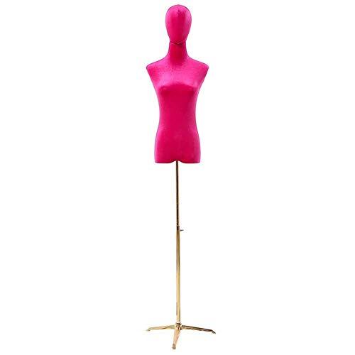 Maniqui Costura Maniquí de Maniquí Flexible de Sastres Femeninos, Modistas Rojos Exhibición de Busto de Estudiantes de Moda Simulados con Base de Metal, para Exposición/Tienda/Dormitorios