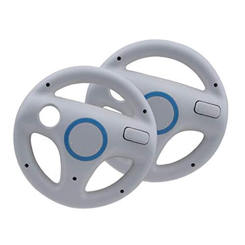 Gracy Sillas de Ruedas de Carreras Juego de Carreras del Volante Controlador de Wii Wheel Compatible con el Mando de Wii Juego 2 Piezas de Blanca, Gamepad