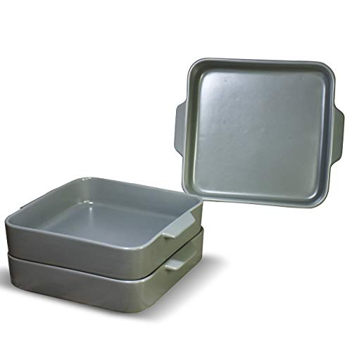Deahezen Square Bakeware Cookware Sets Microwave Oven Safe Bake Ware Tray Pans Ceramic Baking Dishes About 8''- 8'' Set of 3 (Grey, DHZ-BK-3)