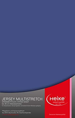 Heike das hochelastische Spannbettlaken Multistretch 92% Mako-Baumwolle 8% Elastan Deutsche Markenqualität 240gr/m2, 23-40cm Höhe, für Wasser-, Boxspringbetten und herkömmliche Matratzen (Royalblau)