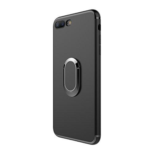 Hexcbay Compatible con funda iPhone 7, funda Iphone 8, parachoques de TPU Soporte magnético con soporte de anillo de 360 grados Funda protectora delgada para iPhone 7/8 (iPhone 7 Plus/8 Plus, Negro)