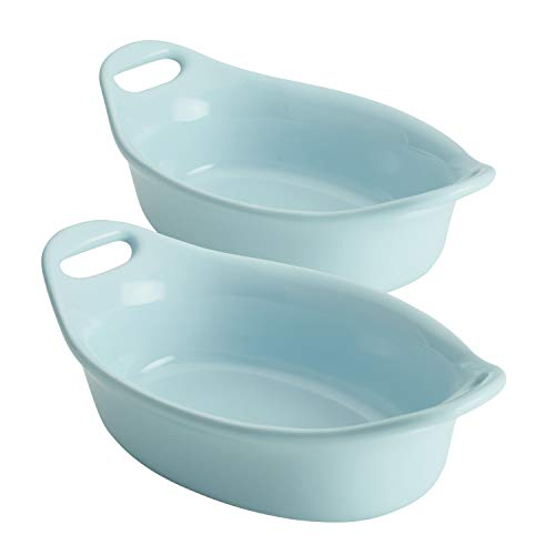 Rachael Ray Solid Glaze Ceramics Au Gratin Bakeware / Baker Set, Oval - 2 Piece, Light Blue