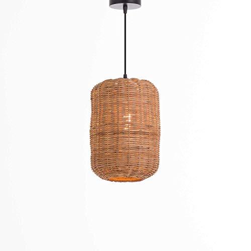 Lámpara de Techo Colgante de Ratán Natural   Modelo LAN 7hSevenOn Deco   Lámpara de Techo Estilo Nórdico, Bohemio, Natural   Lámpara de Techo Salón, Dormitorio.   Lámpara 20x20x30cm