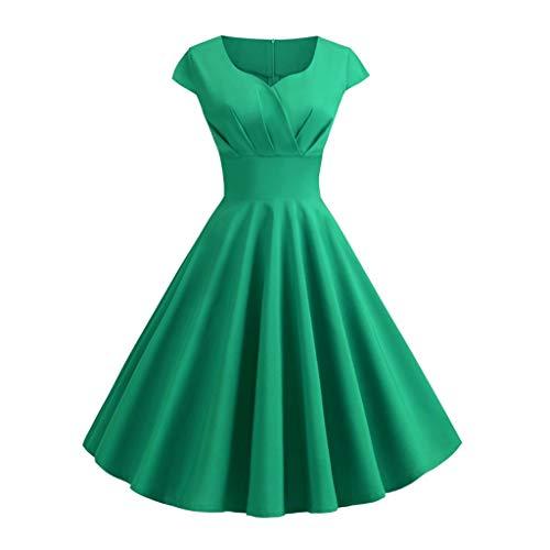 YWSZJ Color Puro Vestido de Verano Damas V-Cuello en V Gran Vestido Retro, Oficina de túnica Vestido de Longitud Media (Color : B, Size : Large)