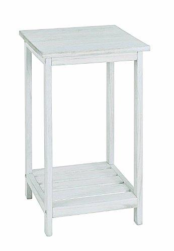 PEGANE Table d'appoint en Bois Massif Coloris essuyé Blanc, Dim : 32 x 32 x 59 cm