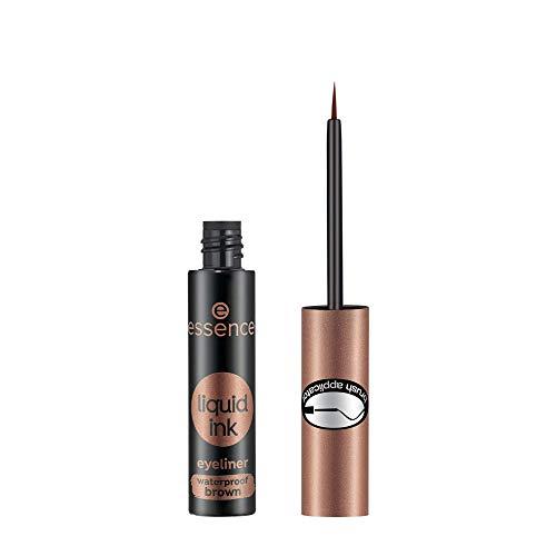 essence liquid ink eyeliner waterproof brown, Eye Liner, Nr. 02 Ash brown, braun, definierend, langanhaltend, farbintensiv, wasserfest, vegan, 3er Pack (3 x 3ml)