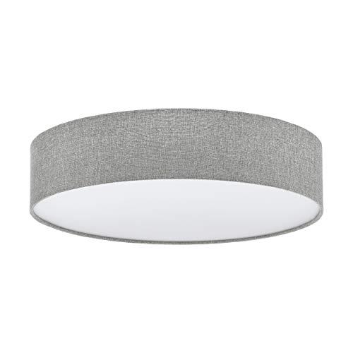 EGLO Deckenlampe Pasteri, 3 flammige Textil Deckenleuchte, Material: Stahl, Stoff, Farbe: Leinen grau, weiß, Ø: 57 cm