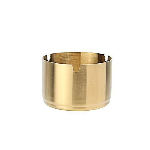 Cenicero de acero inoxidable dorado a prueba de viento con tapa de mármol, decoración de la mesa de la sala de estar del hogar suave y delicada Altura 10 * Ancho 8 cm