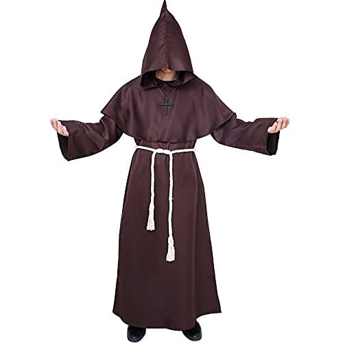 Myir JUN Disfraz de Monje Sacerdote Tnica Medieval Renacimiento Traje con Cruz para Halloween Carnaval (Marrn, XL)
