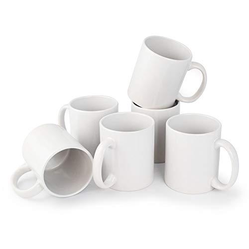 Werbewas Kaffeebecher, weiß, 6er Set - 300ml Keramik Kaffeetassen ohne Druck zum bemalen und basteln geeignet - Simple Becher zum Personalisieren - Tassen/Pott für Kaffee, Tee und mehr