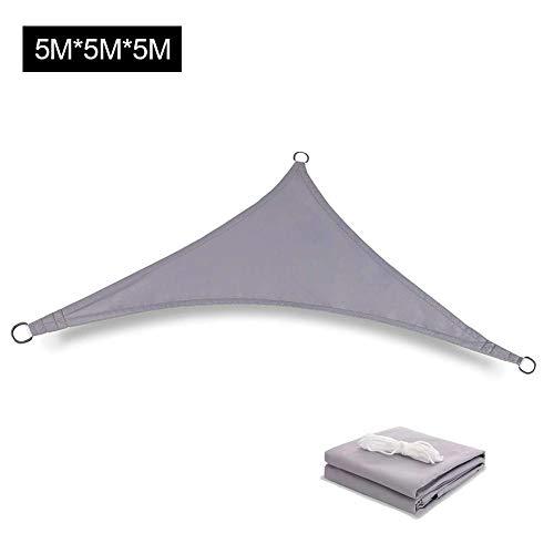 Zonnescherm Sail Triangle 5 x 5 x 5 m Waterproof Sunscreen Canopy Luifel, 98 UV-bescherming En 90 Schaduwsnelheid, Voor Binnenplaatsen, Gazons, Tuinen, Zwembaden