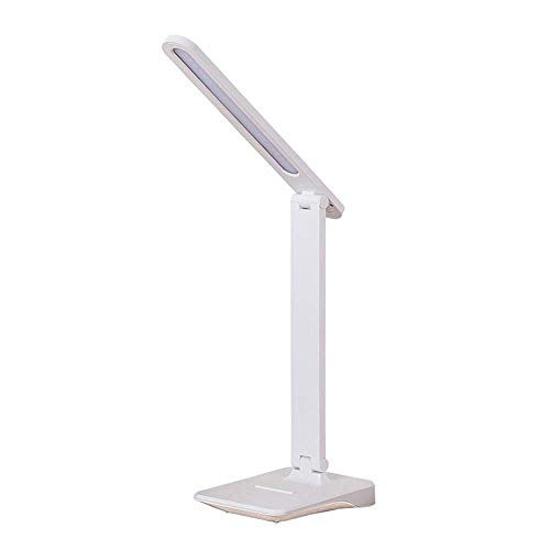 LJ Lámpara de escritorio LED, USB recargable, lectura, protección ocular, lámpara de mesa LED, control táctil, brillo ajustable para estudio, dormitorio, oficina, rosa,Blanco