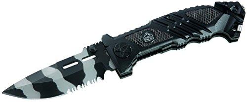 Puma TEC Rettungsmesser, Stahl 420, schwarz-graue Klinge,, Liner Lock, Gurtschneider, Schlagdorn, Clip, Alu-Schalen, 323312