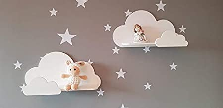 Juego de 2 estantes de pared Happy Woody Cloud para guardería/estante flotante de madera/decoración de habitación de bebé/habitación de cuarto de ...