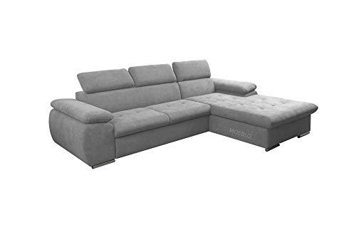 mb-moebel Ecksofa mit Schlaffunktion Eckcouch mit Bettkasten Sofa Couch L-Form Polsterecke NILUX (Hellgrau, Ecksofa Rechts)