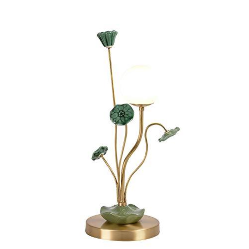 LAIDEPA Lámpara De Mesa Decorativa del Sitio De La Mesita De Noche del Zen Chino De Cerámica De Lujo Ligero,Lámpara De Mesa Pequeña para Sala De Estar, Tocador,Verde