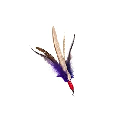 GoCat Da Bird Feather Cat Toy Super Refill with Extra Feathers, Handmade in The USA, Assorted Colors (1 Pack)