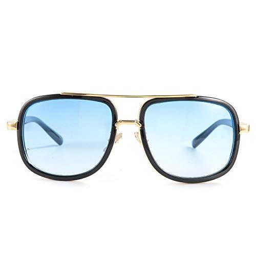 DAUERHAFT Gafas de Sol con Montura Redonda Grande Unisex Estilo Punk Vintage, Lentes Transparentes, Gafas de Sol, para Oficina, Familia, Playa, Lugares públicos(Película Azul Doble Marco Negro)