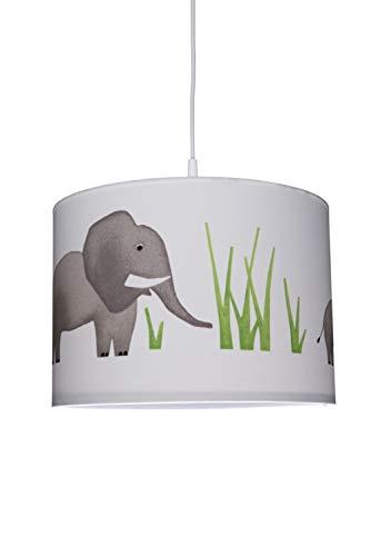 Waldi Leuchten Chambre Lampe Suspension avec éléphant imprimé, 1 Ampoule E27