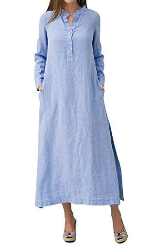 Minetom Herbst Winter Maxikleider Damen Leinenkleid Strandkleid Langes Kleid Retro Langarm Party Bluse Kleider Freizeitkleid mit Taschen Knopf Große Größen Blau DE 40