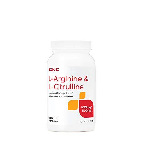 GNC L-Arginine & L-Citrulline 500mg/500mg, 120 Caplets, Increases Nitric Oxide Production