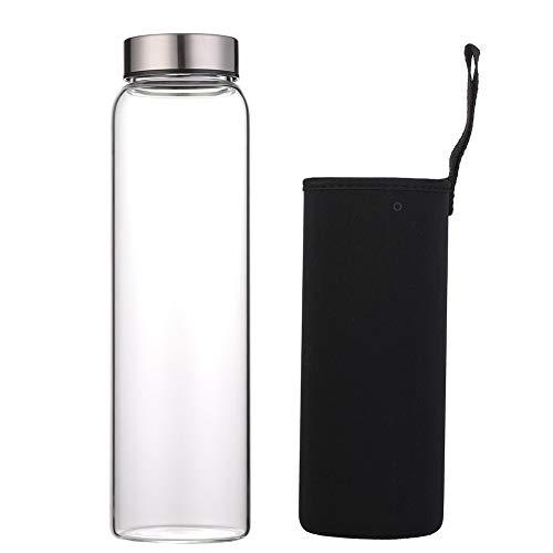 Sunkey Glass Water Bottle 32 oz High Borosilicate with Neoprene Sleeve Leak Proof Lid Reusable Eco...