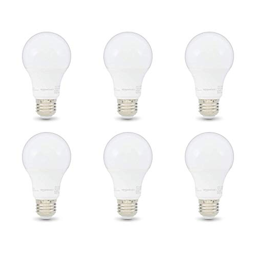 Amazon Basics 60W Equivalent, Soft White, Dimmable, CEC Compliant, A19 LED Light Bulb | 6-Pack