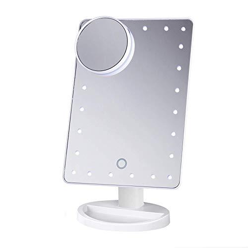 ADOV Specchio Trucco, Cosmetico Illuminazione 24 LED Illuminato Vanity Specchio Portatile Tavolino con 10x Lente Ingranditore, Tocca Luci Regolabile Schermo, USB Gestito e Rotante 180°- Bianco