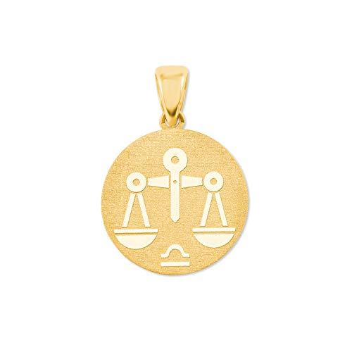 amor Anhänger Unisex Sternzeichen Waage rund 375 Gold teilmattiert