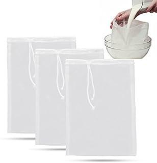 3 قطع أكياس فلتر قابلة لإعادة الاستخدام أكياس شبكة نايلون لحليب المكسرات والقهوة والعصائر وحليب الصويا 74 ميكرون 8 بوصة × ...