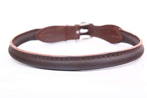 HOGACA edeles weiches Hunde-Leder-Halsband 770 ø6mmx35cm Handarbeit Made IN EU braun Lochbereich 29.5-32 cm mit hochwertiger silberfarbiger Schnalle aus Chromnickelstahl passende Halsbänder