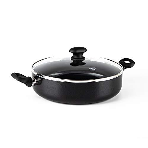 GreenChef Pfanne Bratpfanne Induktion Keramik Beschichtet mit Deckel, Toxinfreies Kochen, Ofen- und Spülmaschinengeeignet - 28 cm/4.3L, Schwarz